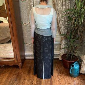 3 piece mint maxi evening ensemble—floral skirt